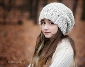 Wheat Slouchy Hat, Winter Hat