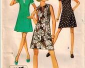 Vintage 70's Summer Dress Sewing Pattern Misses Sz 10.5 Bust 33 A-line Mini Dress Pattern Mod Hip Short Sleeve Sleeveless Dress Pattern