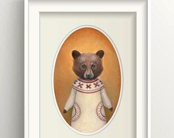 "Bear Art, Bear Cub Painting, Bear Print, Forest Animal Fine Art Print, ""Abigail"""