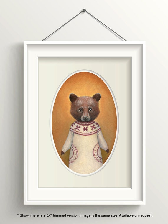 "Bear Art, Bear Cub Painting, Bear Print, Forest Animal Fine Art Print, ""Abigail"""