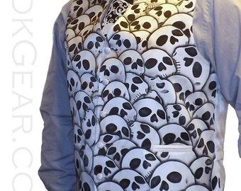 Mens skull vest formal white waistcoat Large RokGear LIMITED design