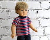 American Boy Doll Clothes Red Blue Striped T Shirt, 18 inch Boy Doll Tee Shirt