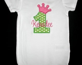 Custom Personalized Applique Birthday CROWN NUMBER and NAME Bodysuit or Shirt - Lime Green and Pink
