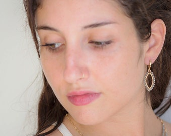 Labradorite Dangle Earrings, Oval Beaded Earrings, Gold Filled Drop Earrings, Dangle Gold Earrings, Beaded Gem stones Earrings