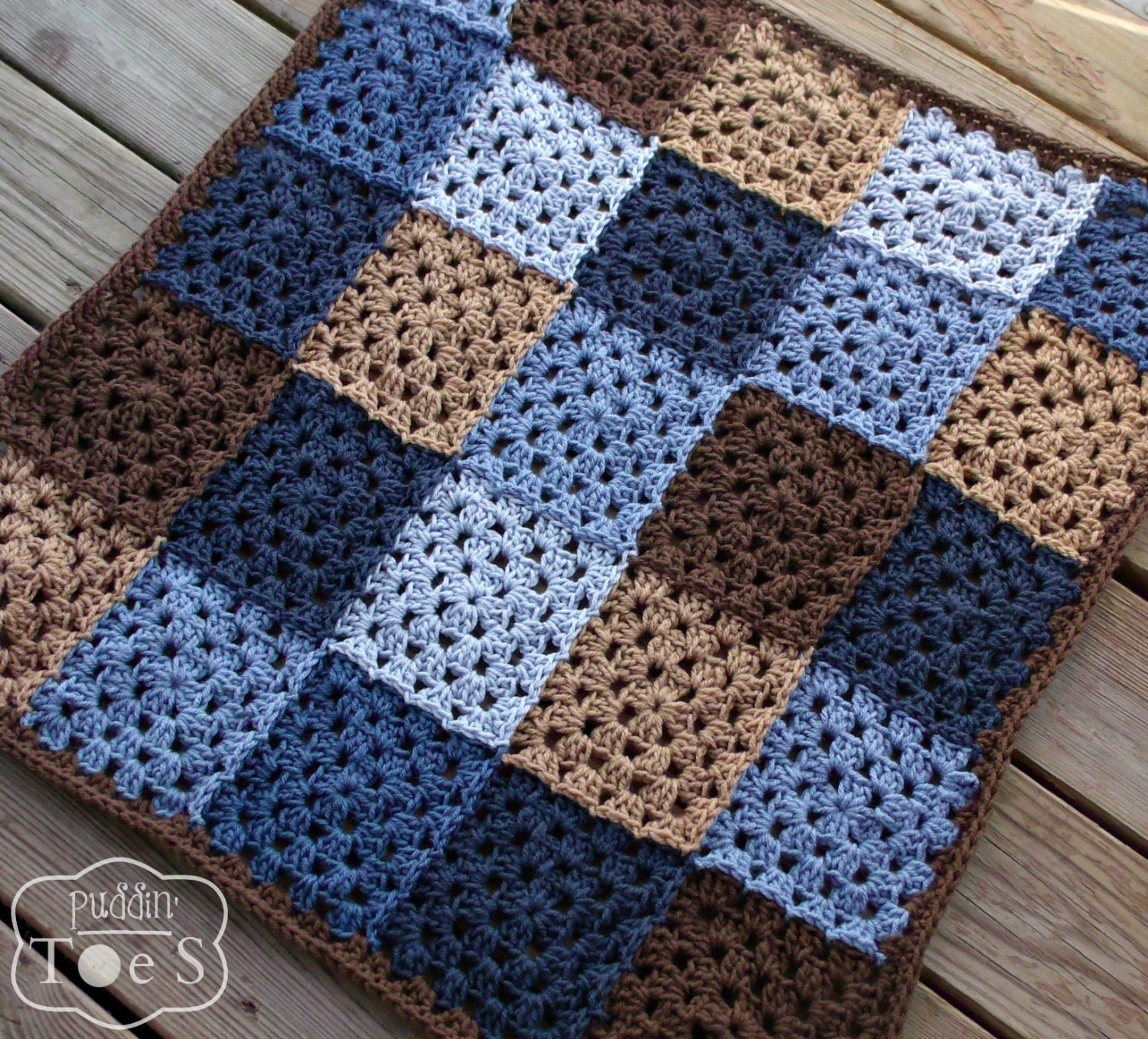Crochet Patterns For Baby Blankets Squares : Crochet Baby Blanket Blue and Brown Granny Square by ...