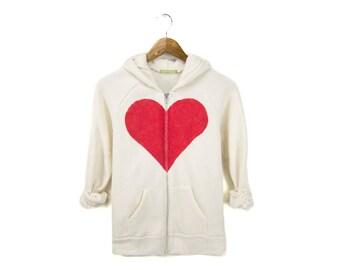 Heart Breaker Hoodie - Fleece Long Sleeve Hooded Zip Sweatshirt in Heather Cream and Red - Women's Size S-4XL