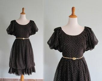 LAST CHANCE CLEARANCE Flirty 80s does 50s Black and Gold Polka Dot Cotton Dress - Vintage Black Rockabilly Dress - Vintage 1980s Dress S M