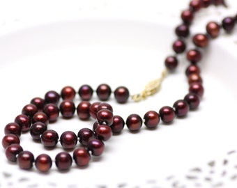 Crimson Red Pearl Necklace | Dark Red Genuine Freshwater Pearls, Handknotted on Silk Thread | Stunning Bridal Jewelry | Handmade by Azki