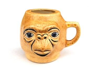 1982 Vintage Handmade ET Face Ceramic Mug Unique Alien UFO Extra Terrestrial - Pop Culture Icon Movie Science Fiction Sci-Fi Coffee Tea Cup
