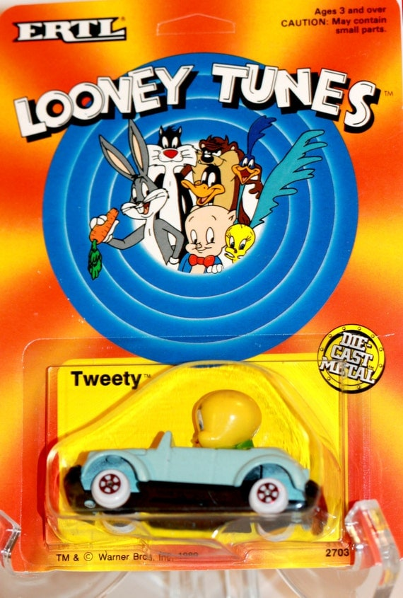looney tunes tweety bird blue car die cast metal 1989. Black Bedroom Furniture Sets. Home Design Ideas