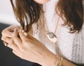 Horizon Necklace | Copper Half Circle Pendant | Lavender Stone Jewelry