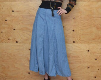 Vintage 80's Denim Chambray Maxi Skirt SZ S/M