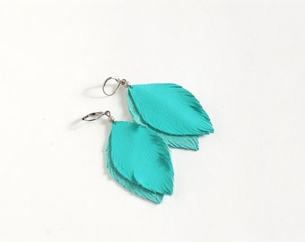 Blue feather leather earrings