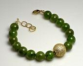 LP 1252  Beautiful High Polished Green Jade Beads, Dazzling Swarovski Crystal Pave Rhinestones Bead