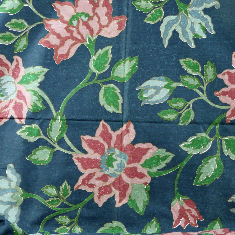 1 yard blue large floral print upholstery or home decor. Black Bedroom Furniture Sets. Home Design Ideas
