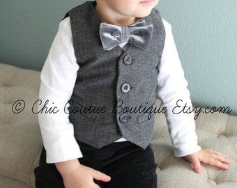 Baby Boy Velvet Bow Tie Bodysuit. Gray, Grey, Blue, Red, Black, Houndstooth, 1st Birthday Outfit, Coming Home Outfit, Christmas Holiday Set