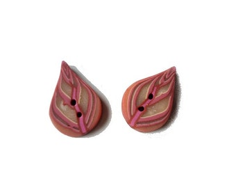 Leaf button, Set of 2 leaves BUTTONS 2cm 3/4 inch, tattered rose pink beige, LEAF buttons in polymer clay - artisan made - boutons
