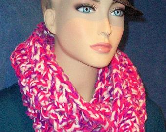 Pink Crochet Infinity Scarf, Chunky Infinity Scarf Neon Pink Infinity Scarf handmade Scarf Multi-Color Infinity Scarf Plush Infinity Scarf