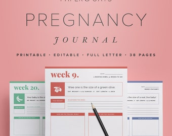 Pregnancy Journal – Editable Digital Maternity Diary, Weeks 6-42, New Mom, Baby Shower Gift,  /  Household PDF Printables