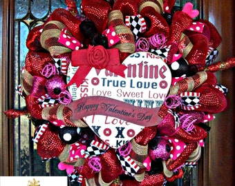 Happy Valentines Day Heart  Wreath
