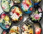 Zhostovo Russian Folk Art - Digital Collage Sheets - 30x40mm, 22x30mm ovals - Digital Download for Pendants, Cabochons, Cameos - CG-378O