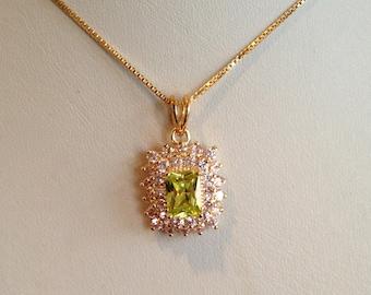 Vintage Gold Vermeil Peridot and Pink Sapphire Multi Stone Pendant Cluster Pendant Demi Parure Pink Stone Green Stone Pendant Necklace