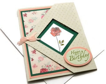 Bday Cards For Woman - Happy Birthday Her - Mom Birthday Card - Card For Girlfriend - Floral Card Messages - Unique Fold Cards