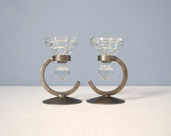 Two Vintage Danish Modern Wrought Iron Candle Holders with Glass Inserts