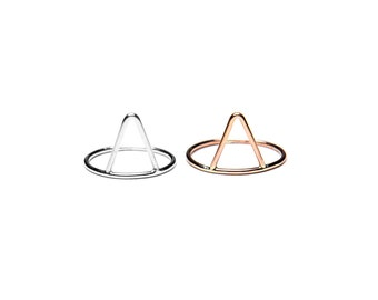 Triangle Ring - Sterling Silver, Yellow Gold, or Rose Gold