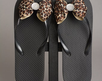 Black Sandal with Leopard Print Bow