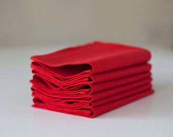 Red napkins - linen napkins - cloth napkins -  table red decor-reusable washable napkin set of 6    0259