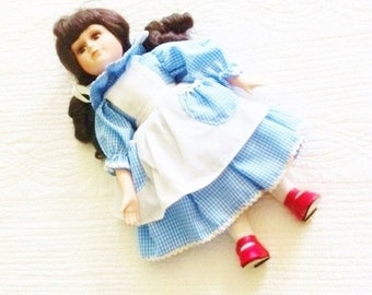 Vintage Dorothy Doll in French Blue and Heirloom White Dress with Ruby Red Shoes, Olives and Doves
