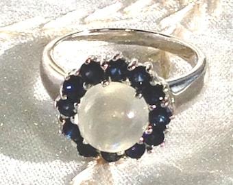 Rainbow Moonstone Halo Ring With Blue Sapphire Halo Handmade Jewellery by NorthCoastCottage Jewelry Design