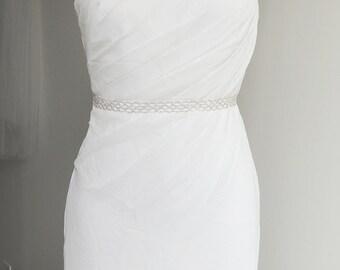 ANNE - Thin Bridal Gown Sash, Wedding Dress Belt Sash, Thin Rhinestone Crystal Sash