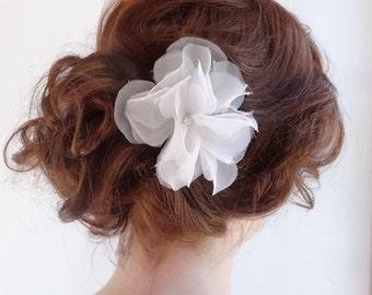 Bridal silk flower headpiece, wedding hair accessories,  handmade silk organza flower, rhinestone center, (Bridal Party options) Style 274