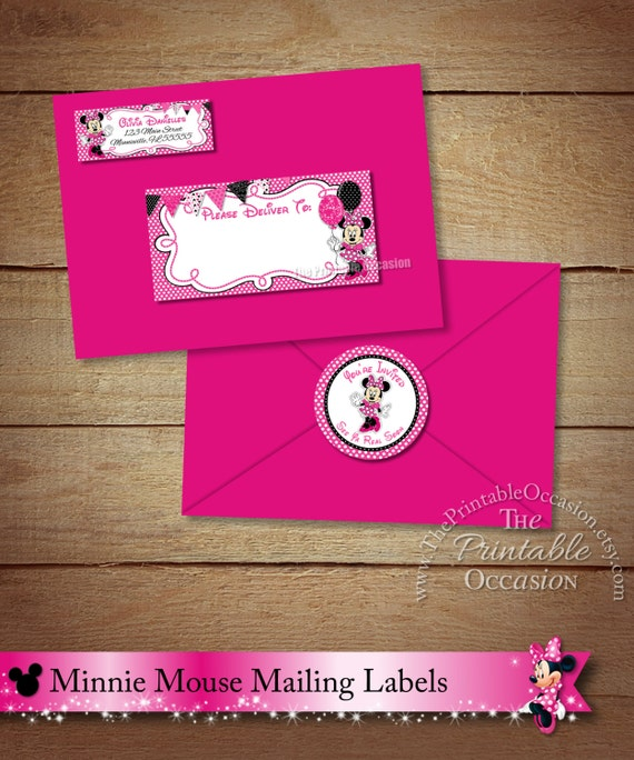 Minnie Mouse Address Labels and Envelope Seal Pink Minnie – How to Address a Birthday Card