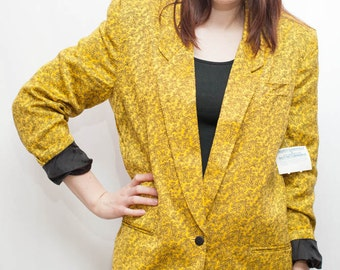 Vintage 90s Bright Yellow Printed Blazer Suit Jacket by Calvin Klein / Oversized Blazer / New with Tags / Size 12 Medium