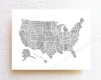 US map art United States map illustration print, inspirational map art USA, classroom decor gift for teacher kids room decor pre teen gift