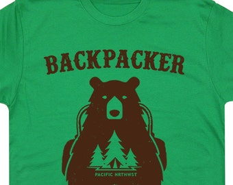 Backpacker Bear T Shirt Trail Hiking T Shirt Cool Hiking Shirt Camping Shirt National Park T Shirt Kayak Appalachian Trail Shirt