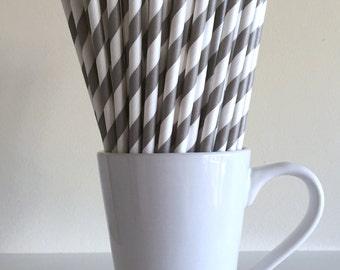 Dark Gray Striped Paper Straws Grey Party Supplies Party Decor Bar Cart Cake Pop Sticks Mason Jar Straws  Party Graduation