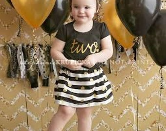 Black and Gold Girls Birthday Outfit, 2nd Birthday Shirt, Birthday Shirt and Skirt, Cake Smash, ANY AGE