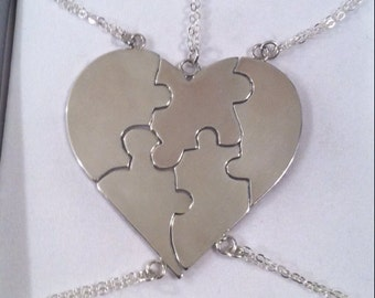 "Sterling Silver Best Friends Puzzle Heart Necklace ""A Piece Of My Heart"" - Bridesmaids - Custom Engraving Available in Another Listing"