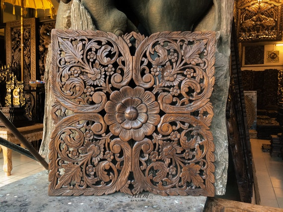Wood Wall Hanging. Hand Carved Teak Wall Art Decor. Relief Carving. Perfect for Dinning Room & Bedroom (60x60 cm. Dark brown)