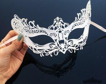 Masquerade Mask, White Masquerade Mask, Lace Mask, Lace Masquerade Mask, Masquerade Ball Mask, Mardi Gras Mask, Masquerade  [Clear Gems]