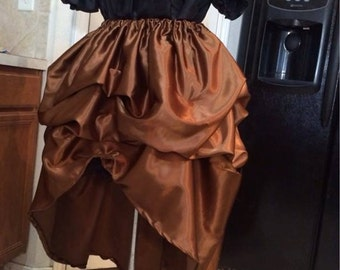 High Low Bustle Skirt Victorian Pick-up Satin custom Sized many Color options