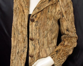 Vintage 1990's 90's Tan Brown Tiger Print Iceberg Jacket Made In Italy Size UK 8 small