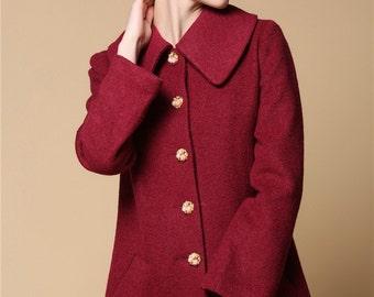 Red wool coat | Etsy