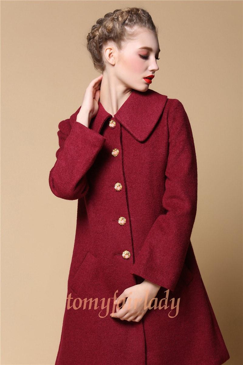 High Fashion Minimalist Wine Red Wool Coat Dark by MyFairLady1950
