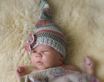 KNITTING PATTERN long tail photo prop baby hat Paris (newborn to child sizes)