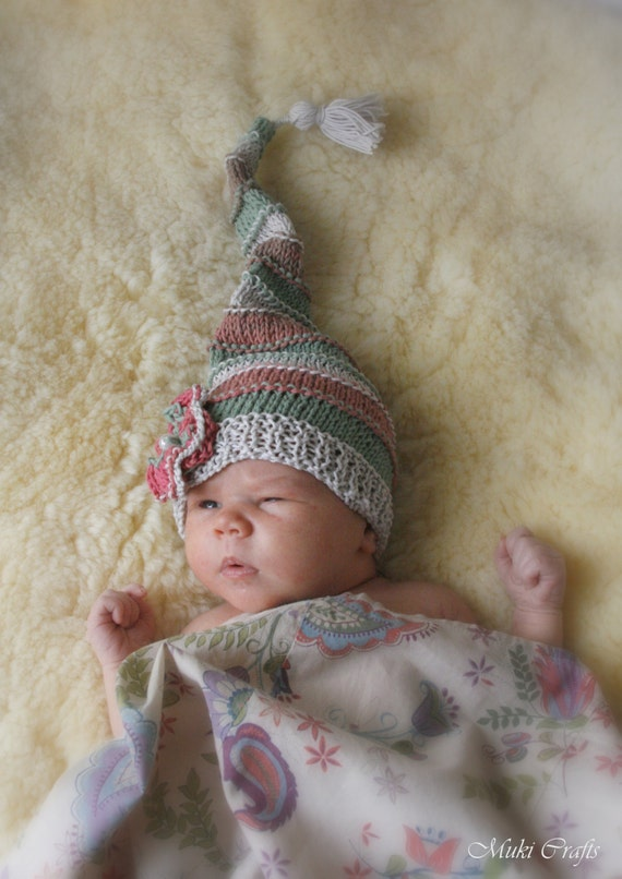 Knitting Patterns For Photography Props : Knitting pattern long tail photo prop baby hat paris newborn